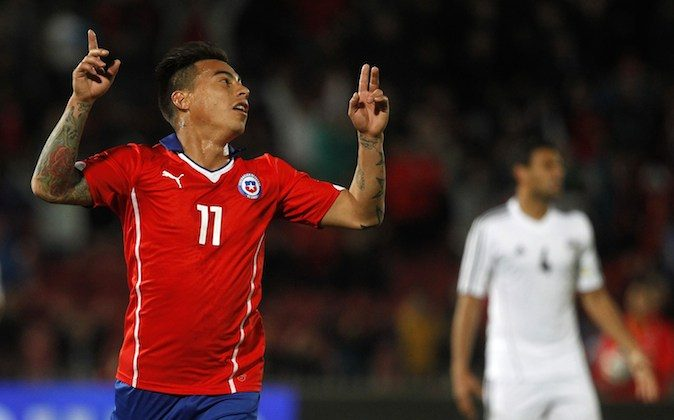 Chilean national team footballer Eduardo Vargas celebrates his goal against Egypt during a friendly football match in Santiago, on May 30, 2014, ahead of the FIFA World Cup Brazil 2014. (Claudio Reyes/AFP/Getty Images)