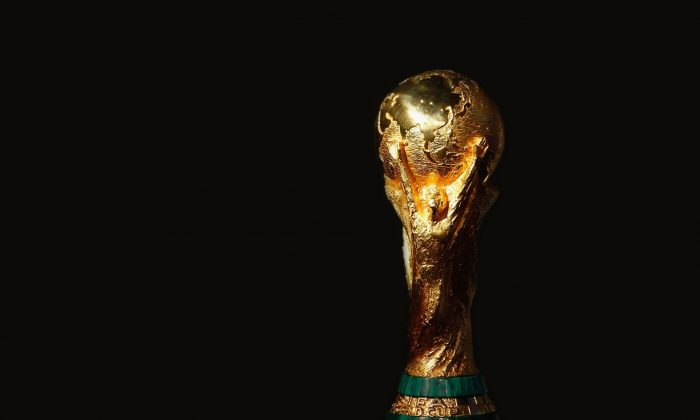 The trophy for the FIFA World Cup is seen at the FIFA Executive Committee announcement for the host venue of the FIFA World Cup 2014, at the FIFA headquarters on October 30, 2007 in Zurich, Switzerland. (Stuart Franklin/Bongarts/Getty Images)