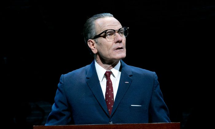 """This image released by Jeffrey Richards Associates shows Bryan Cranston portraying President Lyndon B. Johnson during a performance of """"All the Way."""" The production said Thursday, June 5, 2014, it had earned back its $3.9 million costs, just days after just celebrating its 100th performance. Cranston plays Johnson during his first year in office following the assassination of John F. Kennedy and explores both his fight for re-election and the passage of the Civil Rights Act of 1964. (AP Photo/Jeffrey Richards Associates, Evgenia Eliseeva)"""