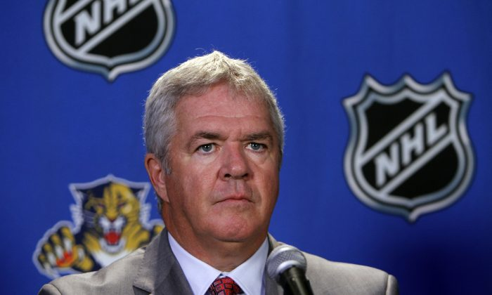 Dale Tallon talks to the media, after he was named the new General Manager of the Florida Panthers Tuesday, May 18, 2010 in Sunrise, Fla.  (AP Photo/J Pat Carter)Dale Tallon talks to the media, after he was named the new General Manager of the Florida Panthers Tuesday, May 18, 2010 in Sunrise, Fla.  (AP Photo/J Pat Carter)