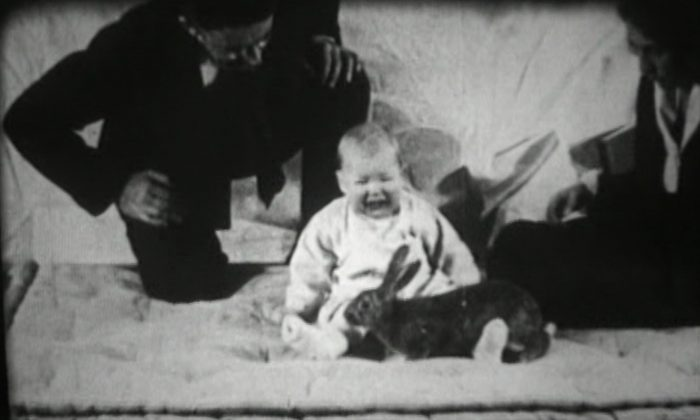A still image from footage of the Little Albert experiment shows famed psychologist John Watson and his graduate student Rosalie Rayner observing Albert's reaction to a rabbit. (Courtesy of Ben Harris)