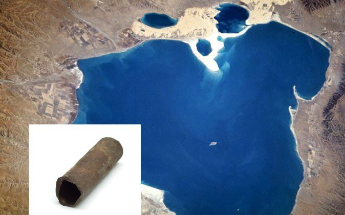 A file photo of a pipe, and a view of Qinghai Lake in China, near which mysterious iron pipes were found. (NASA; Pipe image via Shutterstock*)