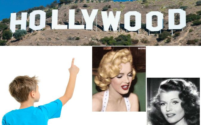 Top: Hollywood sign. (Shutterstock*) Bottom left: a file photo of a boy pointing. (Shutterstock*) 2nd Right: Marilyn Monroe on the cover of the January 1954 issue of Now magazine. (Wikimedia Commons) Bottom right: Actress Rita Hayworth (Wikimedia Commons)
