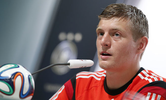 Germany national soccer player Toni Kroos attends a news conference in Santo Andre near Porto Seguro, Brazil, Wednesday, June 18, 2014. Germany play in group G of the 2014 soccer World Cup. (AP Photo/Matthias Schrader)