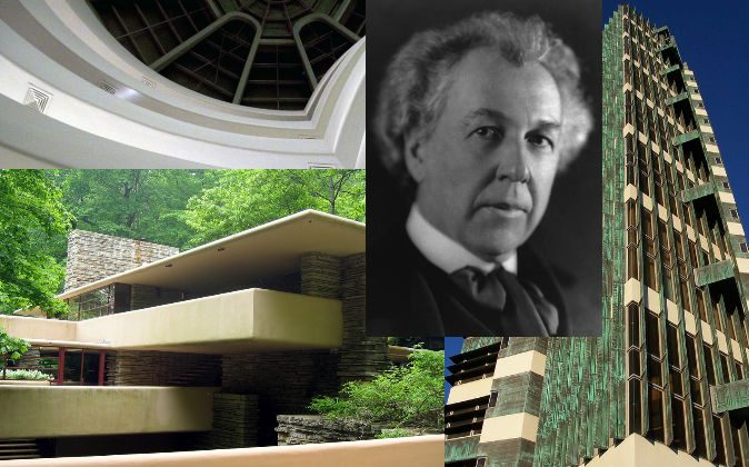 Top left: The interior of a building designed by Frank Lloyd Wright showing multiple floors and a ceiling window. (Ahisgett via Compfight*) Bottom left: A building designed by Wright. (Holowac via Compfight*) Center: A 1926 photo portrait of Wright (Library of Congress) Right: Wright's Price Tower in Bartlesville, Okla. (Shutterstock*)