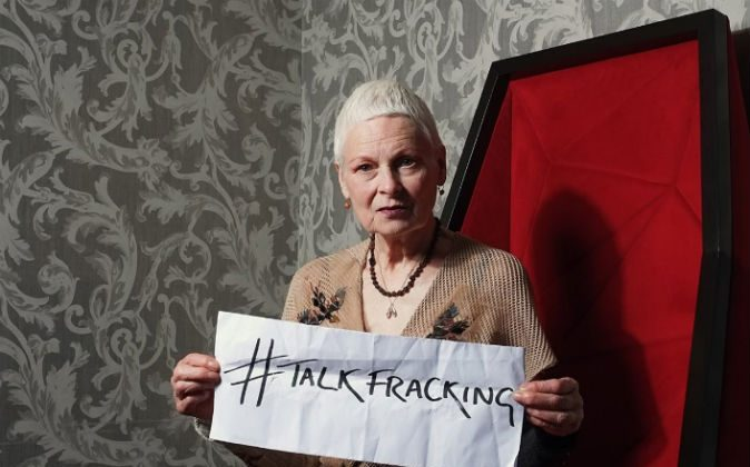 British Fashion Queen Vivienne Westwood wants the UK to talk the pros and cons of fracking (photo: Ki Price/KiPrice.com)