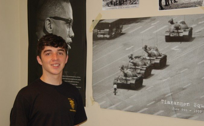 American exchange student Henry Degroot at home. DeGroot, an 18-year-old senior at Newton North High School in Massachusetts, experienced at a personal level what he described as American appeasement of Chinese officials after he wrote a pro-democracy note to a Chinese student. (Tim Pi/Epoch Times)