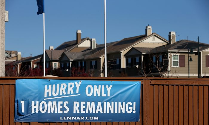 A sign at a housing development in Dublin, Calif., on Dec. 4, 2013. (Justin Sullivan/Getty Images)