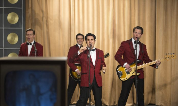 "(L–R) Erich Bergen as Bob Gaudio, Vincent Piazza as Tommy DeVito, John Lloyd Young as Frankie Valli, and Michael Lomenda as Nick Massi in ""Jersey Boys."" (Warner Bros.)"