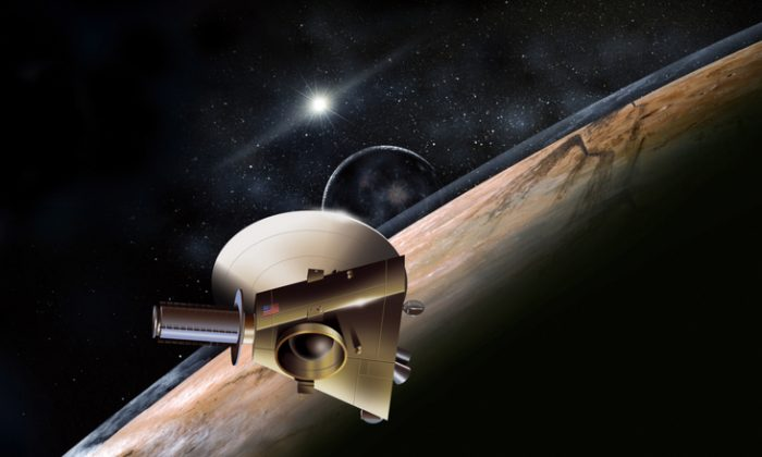 Artist's concept of the New Horizons spacecraft during a planned encounter with Pluto and its moon, Charon. (John Hopkins University Applied Physics Laboratory/Southwest Research Institute)