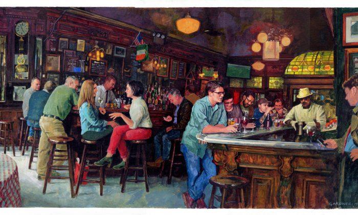 """""""P.J. Clarke's Bar Scene"""" by Stephen Gardner. Gouache. (Courtesy of Society of Illustrators)"""