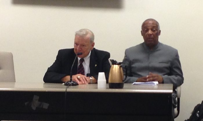 In this file photo, former Council Speaker Peter Vallone (L) and Councilman Charles Barron testify before a City Council committee on June 12, 2014. (Ivan Pentchoukov/Epoch Times)