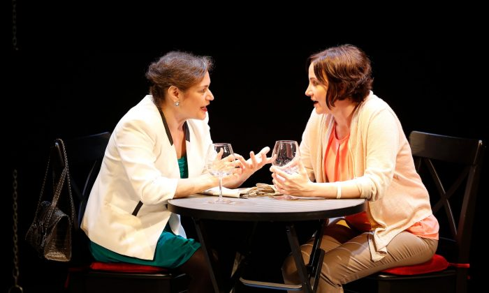 "(L–R) Bridget (Anita Hollander) deals with jealousy as her longtime friend Lonnie (Pamela Sabaugh) meets tremendous success whereas she has failed, in Bekah Brunstetter's ""Murder,"" part of Theater Breaking Through Barriers's ""Power Plays."" (Carol Rosegg)"