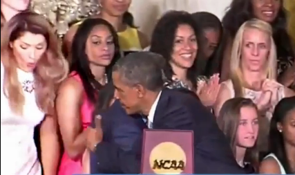 UConn Basketball Player Falls Off The Stage At White House (Video)