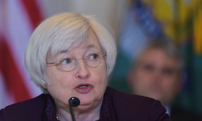 Federal Reserve Board Chair Janet Yellen speaks at a Treasury Department meeting in Washington, D.C., on May 7, 2014. (Mandel Ngan/AFP/Getty Images)