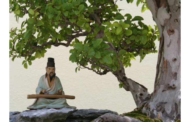 A small statue of an ancient Chinese musician playing the qin rests under a tree. The qin is a Chinese stringed instrument of the zither family. (Gabriel Eckert/Photos.com)