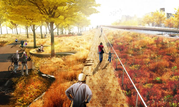 A rendering of the bridging berm in East River Park on the Lower East Side in Manhattan. (Courtesy of HUD.gov)