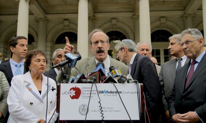 U.S. Congressman Eliot Engel speaking in front of City Hall in support of Israel on July 14, 2014. (Allen Xie)