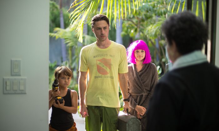 """Pierce Gagnon, Zach Braff, and Joey King in """"Wish I Was Here."""" (Focus Features)"""
