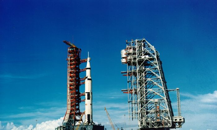 The Saturn V rocket that launched Neil Armstrong, Buzz Aldrin and Michael Collins on their Apollo 11 moon mission at Cape Kennedy, Fla., on July 16, 1969. (Courtesy of NASA)