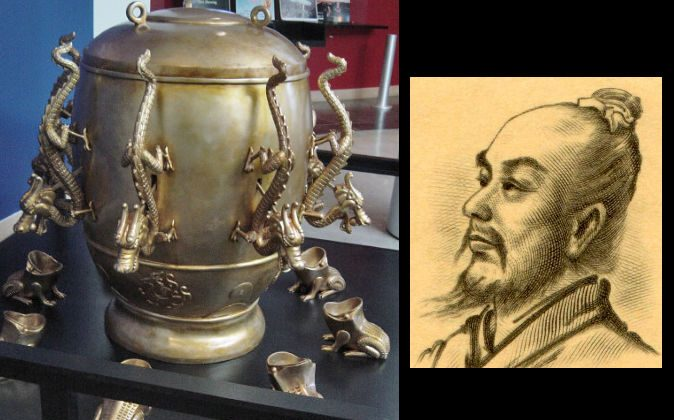 A replica of an ancient Chinese seismoscope from the Eastern Han Dynasty (25-220 A.D.), and its inventor, Zhang Heng. (Wikimedia Commons)
