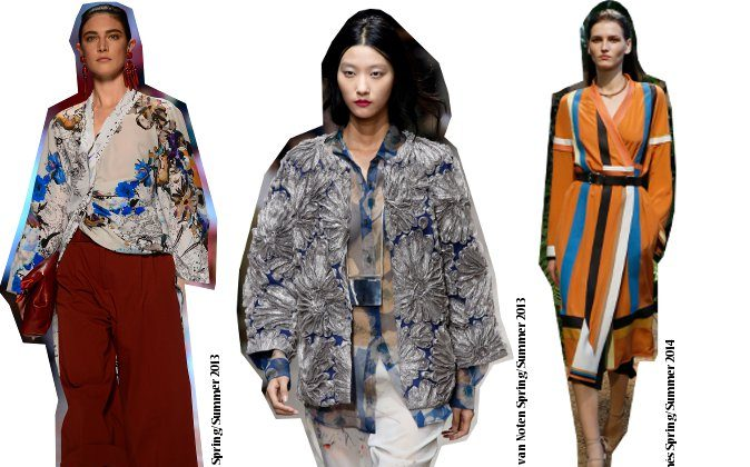 Inspiration from the runwa: Kimonos at Etro, Hermes and Dries van Noten collections. (Getty Images)