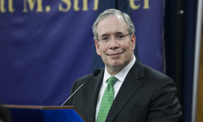 New York City Comptroller Scott Stringer at Mount Carmel Baptist Church in Far Rockaway, N.Y., May 20. A report released Wednesday by Stringer's office indicates that every third school was over 100 percent of its capacity according to 2012 data. (Samira Bouaou/Epoch Times)