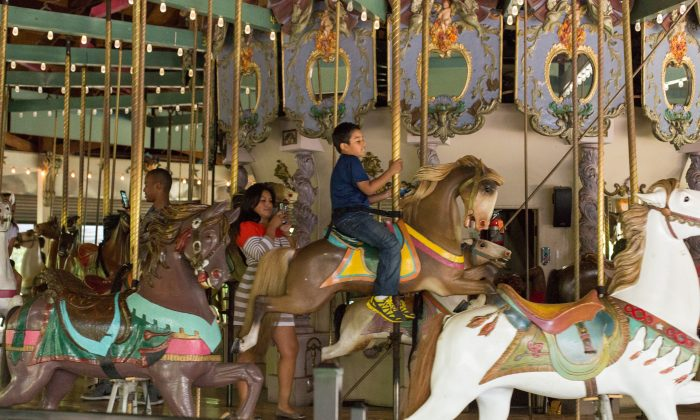 A boy rides the Forest Park Carousel June 30, 2014. The landmarked carousel was carved in 1903 by the Daniel Muller, who is recognized as one of the greatest designers of carousels. It is one of two that still remain across the country. (Laura Cooksey/Epoch Times)