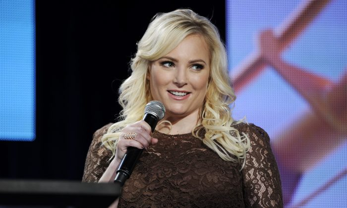 """Meghan McCain, co-host of Pivot's """"TakePart Live,"""" addresses reporters during  Pivot's panel at the Winter 2014 Television Critics Association Press Tour on Saturday, Jan. 11, 2014, in Pasadena, Calif. (Chris Pizzello/Invision for Participant Media/AP Images)"""