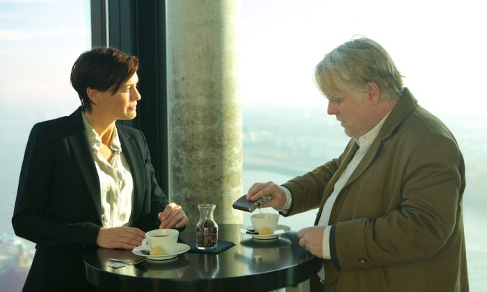 """Robin Wright as a CIA agent and Philip Seymour Hoffman as a German intelligence officer in """"A Most Wanted Man."""" (Roadside Attractions)"""