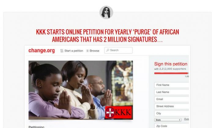 """An article saying the Ku Klux Klan started an online petition via Change.org for a """"yearly purge"""" of black people is fake."""
