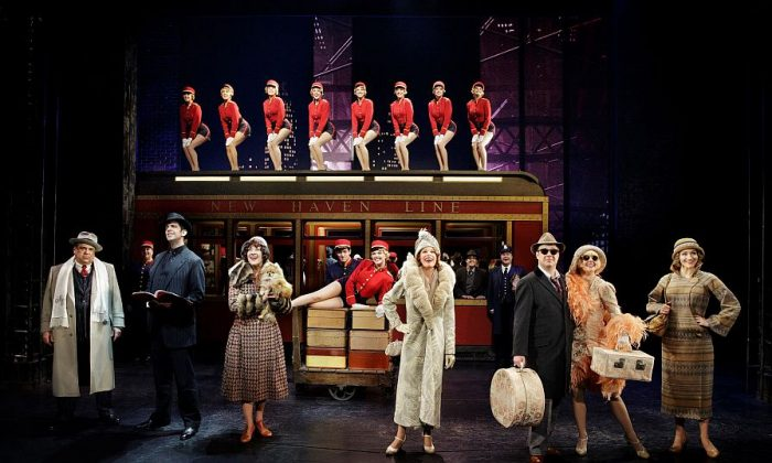 "The cast of ""Bullets Over Broadway,"" in which gangsters and Broadway stars cavort. (L–R in foreground) Gangster Nick Valenti (Vincent Pastore), his goon-turned-ghostwriter Cheech (Nick Cordero), actress in the show Eden Brent (Karen Ziemba), the aging diva Helen Sinclair (Marin Mazzie), the leading man Warner Purcell (Brooks Ashmanskas), the gangster's less-than-talented girlfriend Olive (Heléne Yorke), and the playwright's girlfriend Ellen (Betsy Wolfe). (Paul Kolnik)"