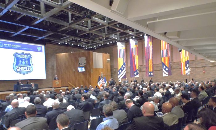 Over 400 law enforcement and private security professionals attending the NYPD SHIELD summer conference on July 16, 2014. (Vincent J. Bove)