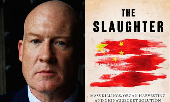 """(L-R) Ethan Gutmann and his book, """"The Slaughter,"""" which provides critical evidence about organ harvesting.  (EndOrganPillaging.org)"""