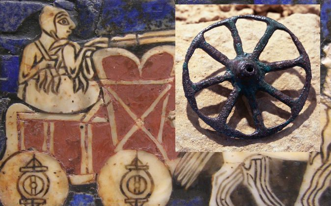 """Left: Detail of the """"Standard of Ur"""", ca. 2500 B.C. Right: Miniature wheel (from a toy cart or similar symbolic object) of ancient Rome. (Wikimedia Commons)"""