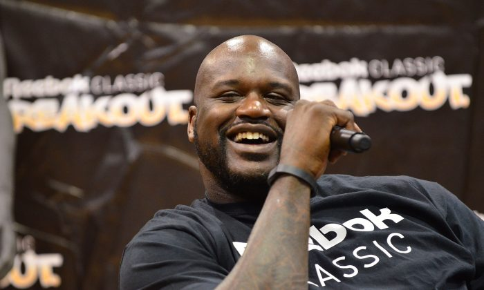 Former NBA player Shaquille O' Neal at Philadelphia University in Philadelphia, Pa., on July 9, 2014 . (Lisa Lake/Getty Images for Reebok)