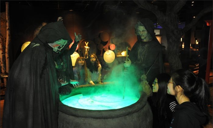 "A recreation of the scene from ""Macbeth"" where the Weird Sisters (Three Witches) are brewing a potion, at the American Museum of Natural History, Manhattan, New York. (Courtesy of American Museum of Natural History)"