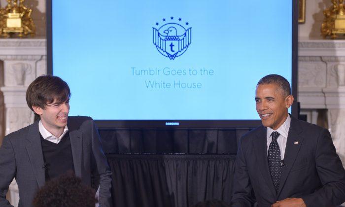 President Barack Obama at an event on the blogging site Tumblr, in the White House in Washington on June 10. At left is Tumblr Founder and CEO David Karp. (Mandel Ngan/AFP/Getty Images)