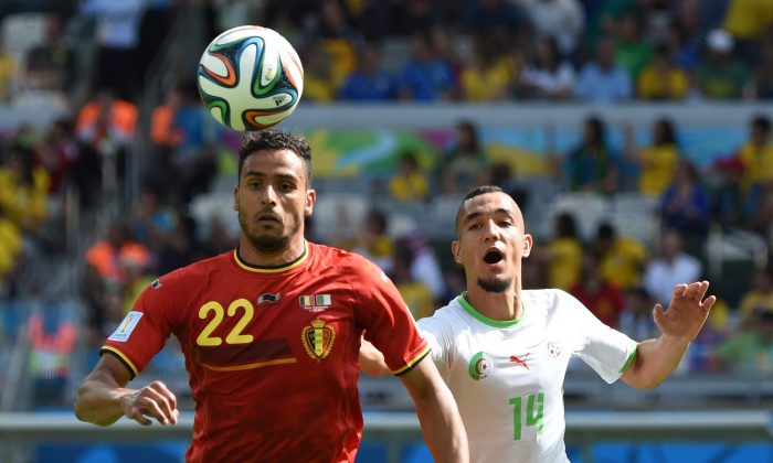 Belgium's midfielder Nacer Chadli (L) and Algeria's midfielder Nabil Bentaleb vie for the ball during a Group H football match between Belgium and Algeria at the Mineirao Stadium in Belo Horizonte during the 2014 FIFA World Cup on June 17, 2014. (CHRISTOPHE SIMON/AFP/Getty Images)