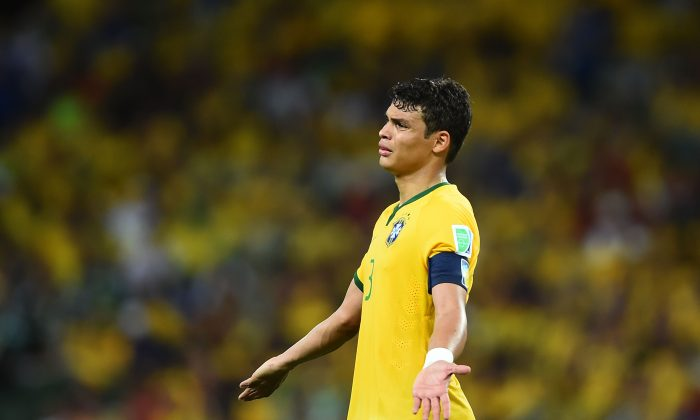 Thiago Silva of Brazil reacts during the 2014 FIFA World Cup Brazil Group A match between Brazil and Mexico at Castelao on June 17, 2014 in Fortaleza, Brazil. (Laurence Griffiths/Getty Images)