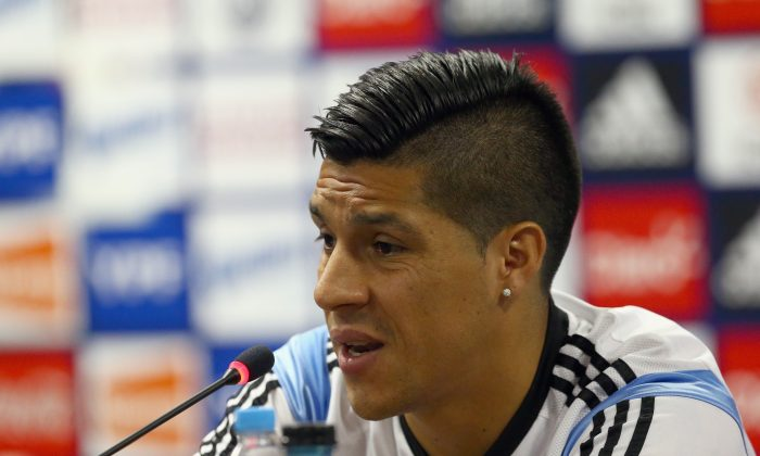 Enzo Perez of Argentina during a press conference at Cidade do Galo on June 22, 2014 in Vespasiano, Brazil. (Ronald Martinez/Getty Images)
