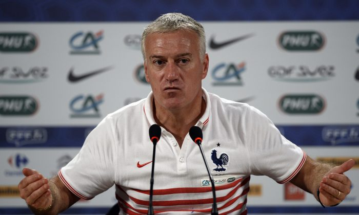 France's coach Didier Deschamps speaks during a press conference at a theater in Ribeirao Preto on July 1, 2014, during the 2014 FIFA World Cup in Brazil. (FRANCK FIFE/AFP/Getty Images)