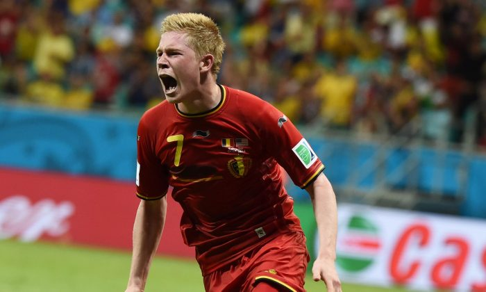 Belgium's midfielder Kevin De Bruyne celebrates after scoring during the first half of extra-time in the Round of 16 football match between Belgium and USA at Fonte Nova Arena in Salvador during the 2014 FIFA World Cup on July 1, 2014. (FRANCISCO LEONG/AFP/Getty Images)