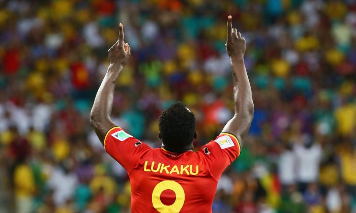 Romelu Lukaku of Belgium celebrates scoring his team's second goal in extra time during the 2014 FIFA World Cup Brazil Round of 16 match between Belgium and the United States at Arena Fonte Nova on July 1, 2014 in Salvador, Brazil. (Photo by Kevin C. Cox/Getty Images)