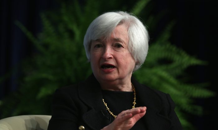 Federal Reserve Board Chairwoman Janet Yellen participates in a discussion at the International Monetary Fund (IMF) July 2, 2014, in Washington, D.C. Yellen testifies July 15 and 16 before the U.S. Congress about the health of the U.S. economy. (Alex Wong/Getty Images)