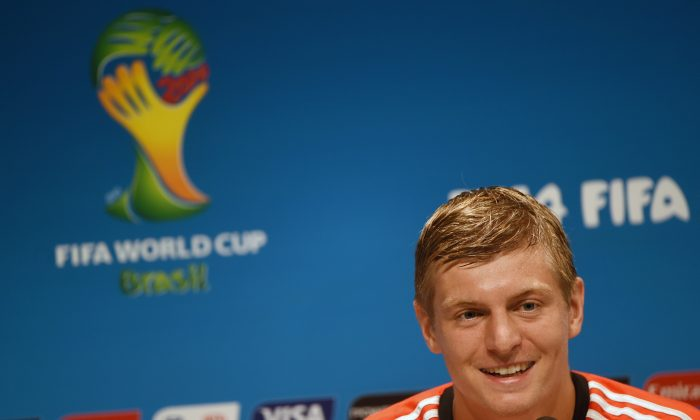 Germany's midfielder Toni Kroos addresses a press conference at the Maracana Stadium in Rio de Janeiro on July 3, 2014 on the eve of the quarter final football match between France and Germany in the 2014 FIFA World Cup in Brazil. (PATRIK STOLLARZ/AFP/Getty Images)