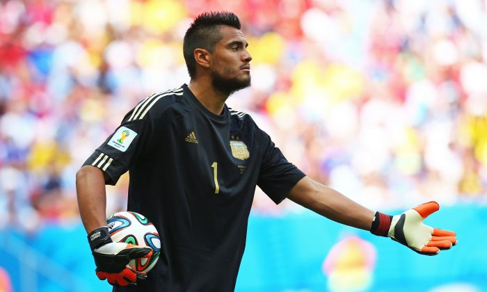 Sergio Romero of Argentina gestures during the 2014 FIFA World Cup Brazil Quarter Final match between Argentina and Belgium at Estadio Nacional on July 5, 2014 in Brasilia, Brazil. (Ronald Martinez/Getty Images)