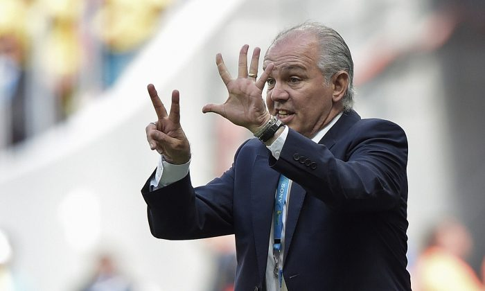 Argentina's coach Alejandro Sabella gestures during a quarter-final football match between Argentina and Belgium at the Mane Garrincha National Stadium in Brasilia during the 2014 FIFA World Cup on July 5, 2014. (JUAN MABROMATA/AFP/Getty Images)