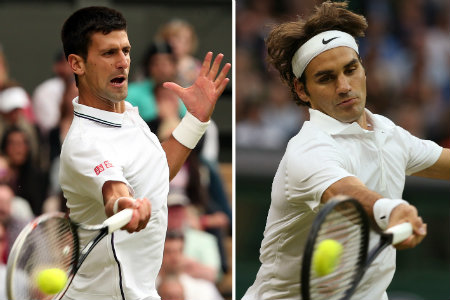 Serbia's Novak Djokovic (L) returning during his men's singles second round match against Czech Republic's Radek Stepanek on day three of the 2014 Wimbledon Championships and Switzerland's Roger Federer (R) hitting a return during his men's singles third round match against Colombia's Santiago Giraldo on day six at The All England Tennis Club in Wimbledon, southwest London. Djokovic takes on seven-time Wimbledon champion Roger Federer in the men's singles final in the 2014 Wimbledon Championships on July 6, 2014. (ANDREW YATES/AFP/Getty Images)