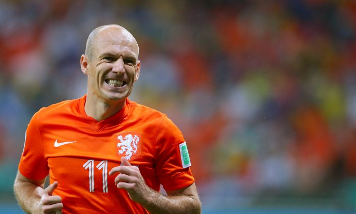 Arjen Robben of the Netherlands looks on during the 2014 FIFA World Cup Brazil Quarter Final match between the Netherlands and Costa Rica at Arena Fonte Nova on July 5, 2014 in Salvador, Brazil. (Dean Mouhtaropoulos/Getty Images)